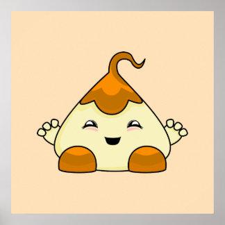 Orange Kawaii Tickle Monster Poster