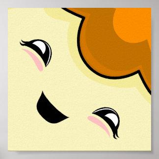 Orange Kawaii Tickle Monster Print