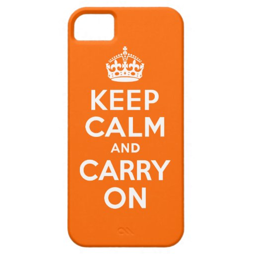 Orange Keep Calm and Carry On iPhone 5 Covers