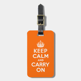 Orange Keep Calm and Carry On Tag For Luggage