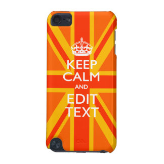 Orange Keep Calm and Your Text on a Union Jack iPod Touch (5th Generation) Case