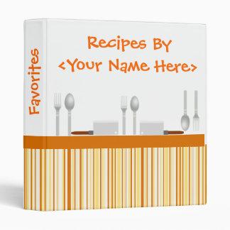 Orange Kitchen Stripes Binder