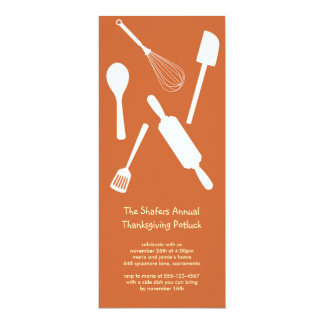 Orange kitchen utensil Thanksgiving potluck party 4x9.25 Paper Invitation Card
