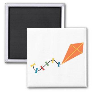 Orange Kite 2 Inch Square Magnet