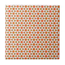 Orange Kitsch stars and spots pattern Tile