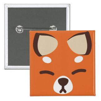 Orange Kitsune Fox Pinback Buttons