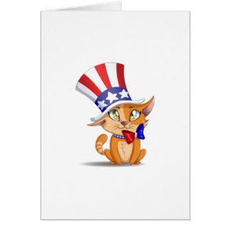 Orange Kitten 4th Of July Card