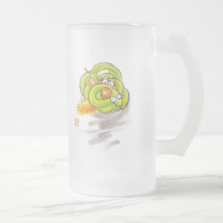 Orange kitten and Yellow-green small snake Frosted Glass Beer Mug