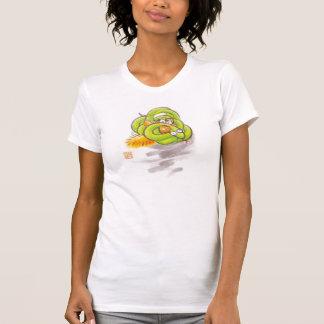 Orange kitten and Yellow-green small snake T-shirt