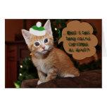 Orange Kitten Christmas Greeting Card