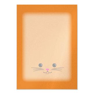 Orange Kitty Cat Cute Animal Face Design Card