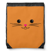 Orange Kitty Cat Cute Animal Face Design Drawstring Backpack