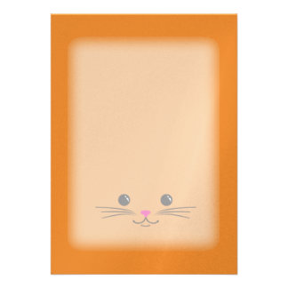 Orange Kitty Cat Cute Animal Face Design Custom Invitation