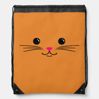 Orange Kitty Cat Cute Animal Face Design Drawstring Bag