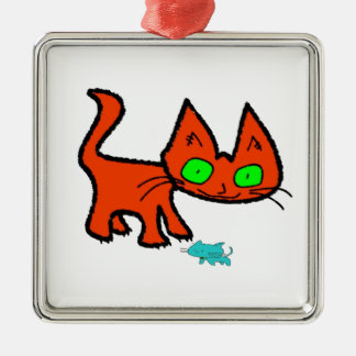 Orange Kitty Cat Playing With A Cat Toy Ornaments