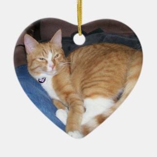 Orange Kitty Ceramic Ornament