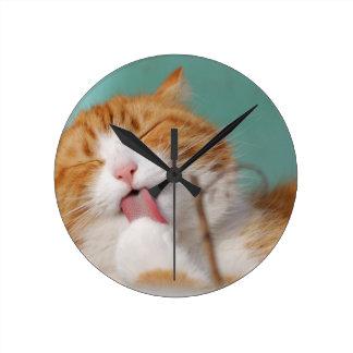 Orange Kitty Licks Round Clock