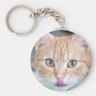 Orange kitty slurp keychain