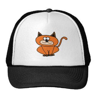 orange kitty trucker hat