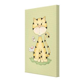 Orange Kitty w/ Flower Canvas Print