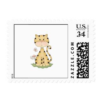 Orange Kitty w/ Flower Stamps
