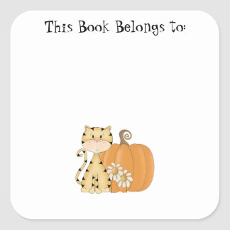 Orange Kitty w/ Pumpkin Square Sticker