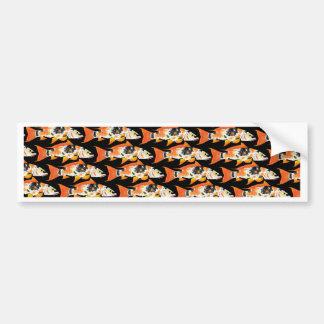Orange koi Carp Pattern in black Bumper Sticker