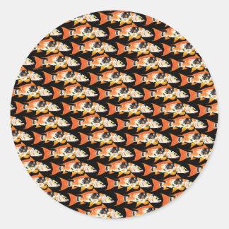Orange koi Carp Pattern in black Classic Round Sticker