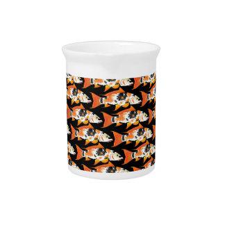 Orange koi Carp Pattern in black Drink Pitchers