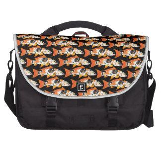 Orange koi Carp Pattern in black Laptop Bag
