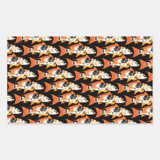 Orange koi Carp Pattern in black Rectangular Sticker