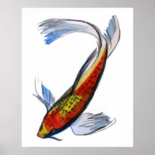 Orange koi japanese watercolour art fish poster zazzle for Orange koi fish