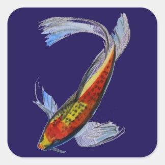 Orange Koi Japanese watercolour carp art Square Sticker
