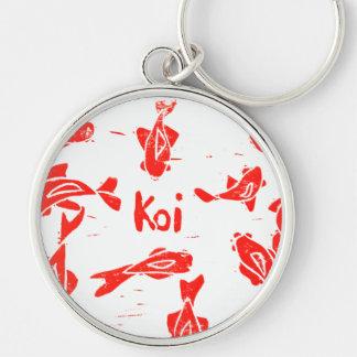 Orange Koi Linocut Key Chain