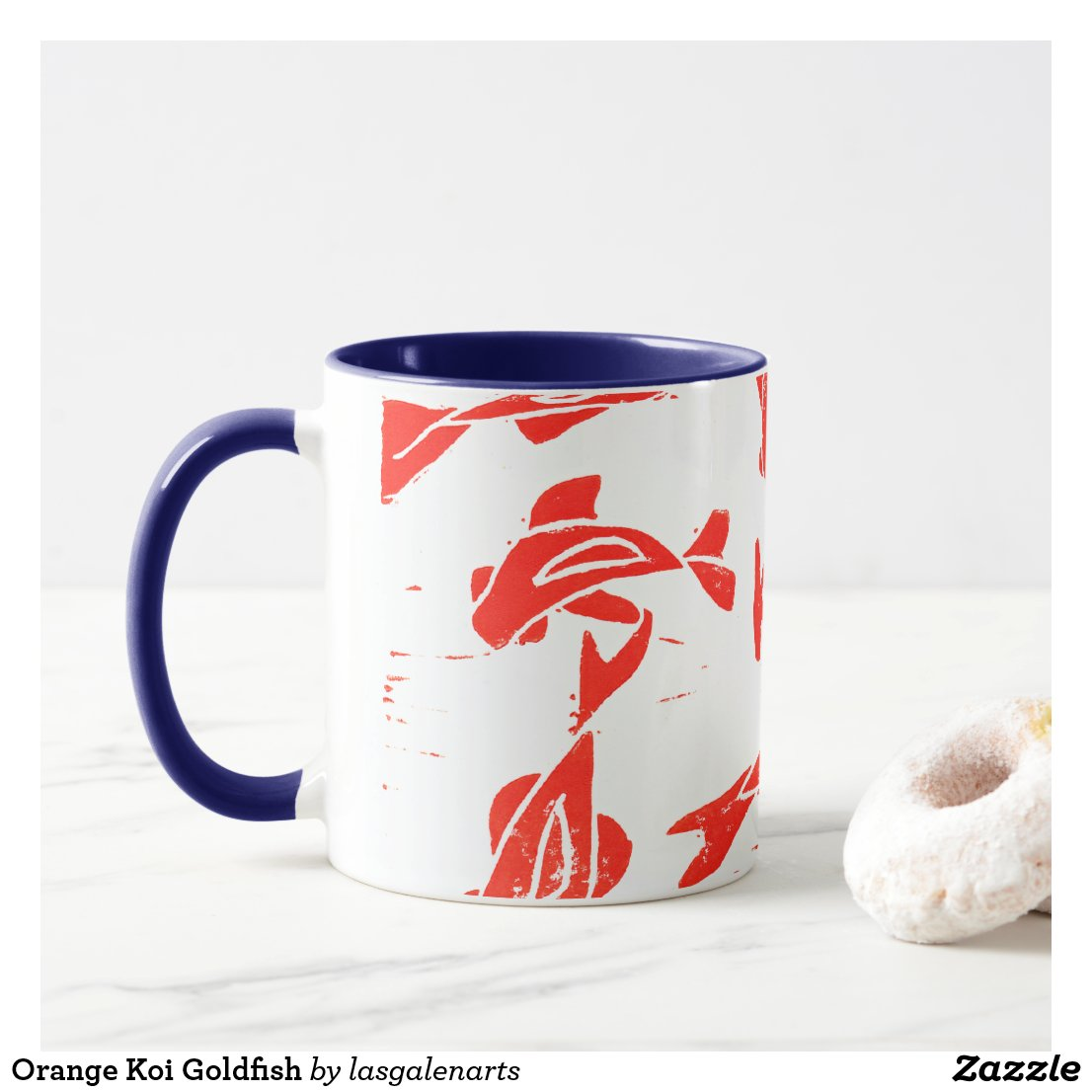 Orange Koi Linocut Mug