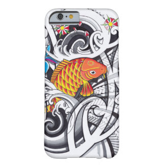 Orange koifish tattoo design with Polynesian art Barely There iPhone 6 Case