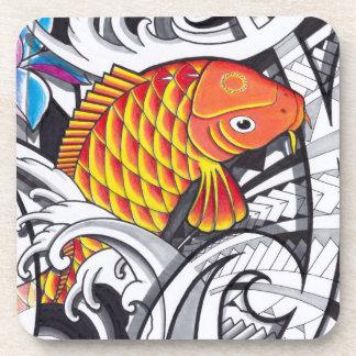 Orange koifish tattoo design with Polynesian art Coaster