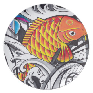 Orange koifish tattoo design with Polynesian art Dinner Plate
