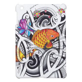 Orange koifish tattoo design with Polynesian art iPad Mini Cases