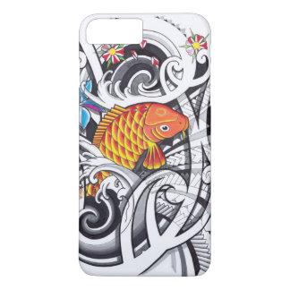 Orange koifish tattoo design with Polynesian art iPhone 7 Plus Case