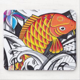 Orange koifish tattoo design with Polynesian art Mouse Pad