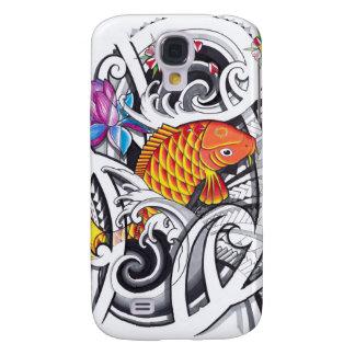 Orange koifish tattoo design with Polynesian art Samsung Galaxy S4 Cover