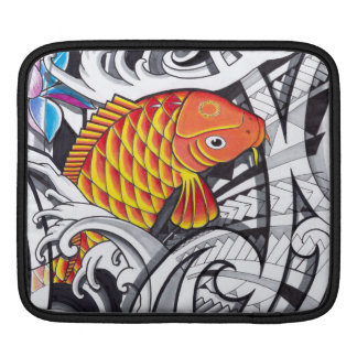 Orange koifish tattoo design with Polynesian art Sleeve For iPads