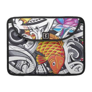 Orange koifish tattoo design with Polynesian art Sleeve For MacBooks