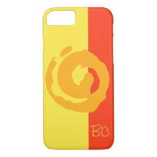 Orange Koru Symbol on Yellow and Red Background iPhone 7 Case