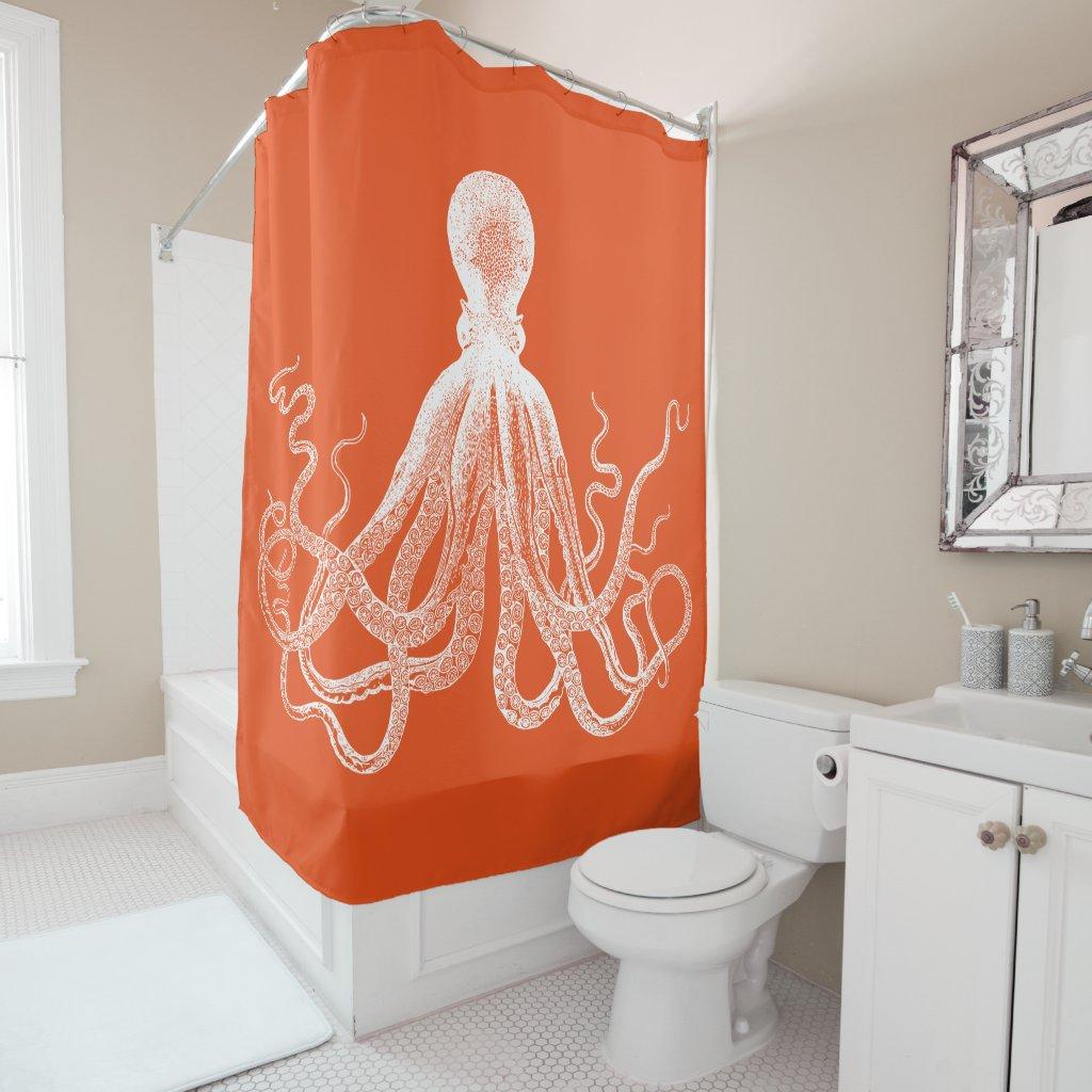 Orange Kraken Octopus Shower Curtain