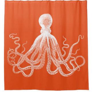 Orange Kraken Octopus Shower Curtain  Orange Shower Curtain