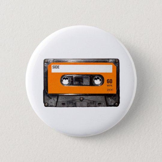 Orange Label 80's Cassette Pinback Button