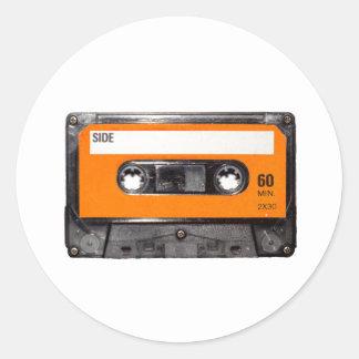 Orange Label 80's Cassette Round Stickers