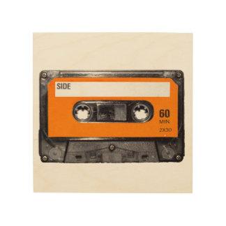 Orange Label Cassette Wood Print